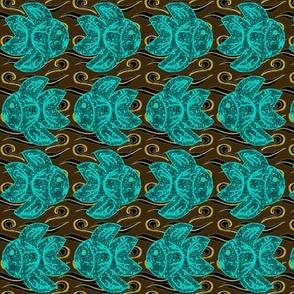 Swirly fish in a murky sea