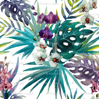 Topical Hawaii Watercolor Orchid Flowers Pineapple