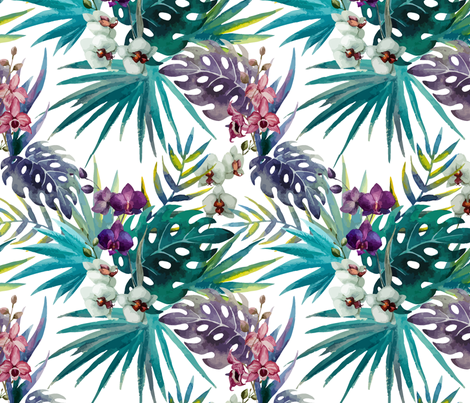 Topical Hawaii Watercolor Orchid Flowers Pineapple fabric by furbuddy on Spoonflower - custom fabric