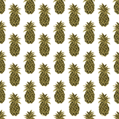 Tropical Gold Pineapples on white