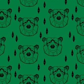 bear head // geometric bear face bears fabric green nursery boys design andrea lauren fabric