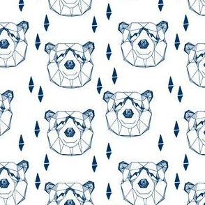 bear head // geometric bear head navy blue and white bear design nursery baby boy fabric