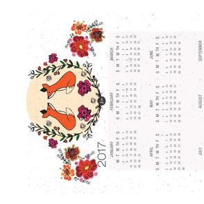 Floral Fox 2017 Calendar