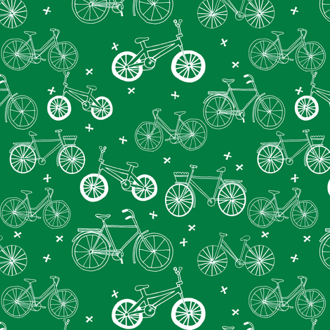 bicycles // bike fabric kelly green bicycles design andrea lauren hand-drawn illustration andrea lauren fabric bicycle print pattern fabric by andrea_lauren on Spoonflower - custom fabric