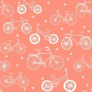 bicycles // peach bicycle fabric hand-drawn bike fabric cycle fabric andrea lauren fabric