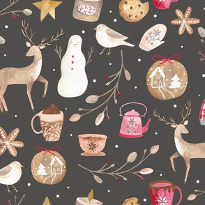 Cozy Snow  Day/ Winter Holidays Fabric/ Vintage nostalgic winter fabric