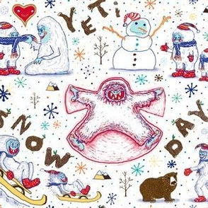 Yeti winter Snow Day snow angel, large scale, white red blue brown yellow