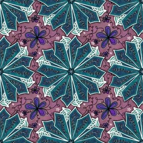 Project 195 | Poinsettia | Teal Flowers on Mauve Pink