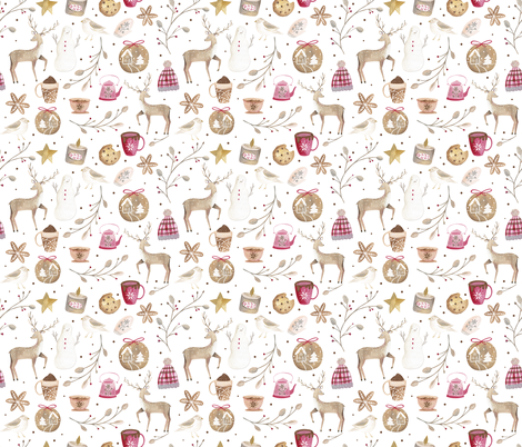 Cozy Snow Day White/ Winter Holidays Fabric/ Nostalgic Winter Day fabric fabric by bianca_pozzi on Spoonflower - custom fabric