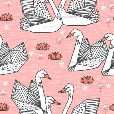swans // origami swans pink swan fabric sweet swan design andrea lauren swans fabric andrea lauren design