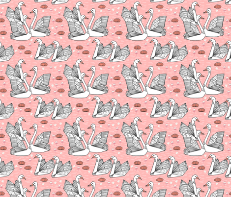 swans // origami swans pink swan fabric sweet swan design andrea lauren swans fabric andrea lauren design fabric by andrea_lauren on Spoonflower - custom fabric