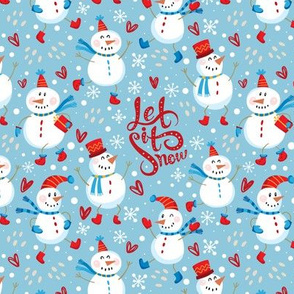 Festive Snowmen - Red/Blue