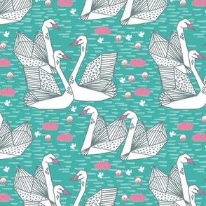 swans // origami swans turquoise swan fabric girls swan design andrea lauren fabric andrea lauren design