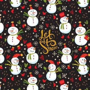 Festive Snowmen - Black