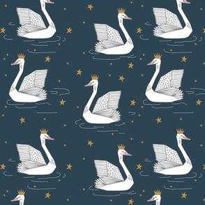princess swan // dark blue swan crown princess stars gold andrea lauren fabric andrea lauren design