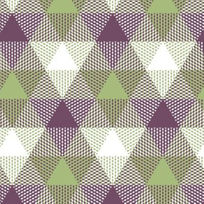 triangle gingham - plum, avocado, white