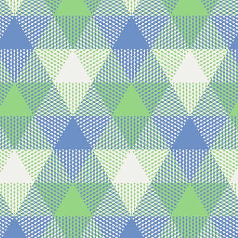 triangle gingham - light blue, light green, pearl grey fabric by weavingmajor on Spoonflower - custom fabric
