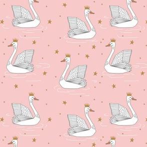 princess swan // pink swan fabric gold stars gold crown princess swan fabric andrea lauren swan design