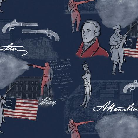 Alexander Hamilton on Blue fabric by landpenguin on Spoonflower - custom fabric