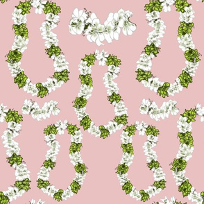 Blushing white Tropical Leis on Pink by Salzanos