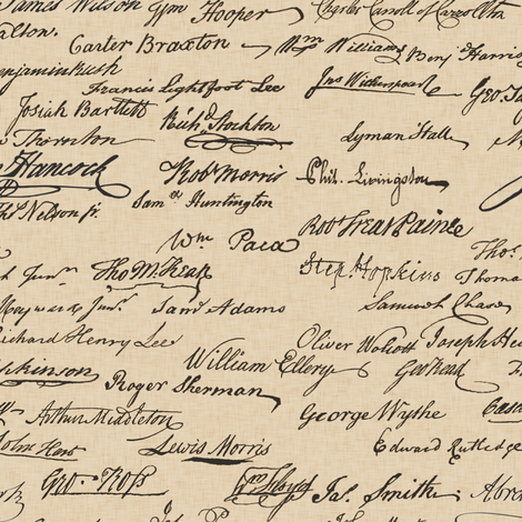Declaration of Independence Signatures fabric by landpenguin on Spoonflower - custom fabric