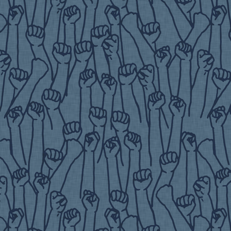 Protest Fists on Blue fabric by landpenguin on Spoonflower - custom fabric