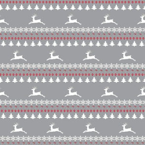 Rain deer fair isle MEDIUM gray white