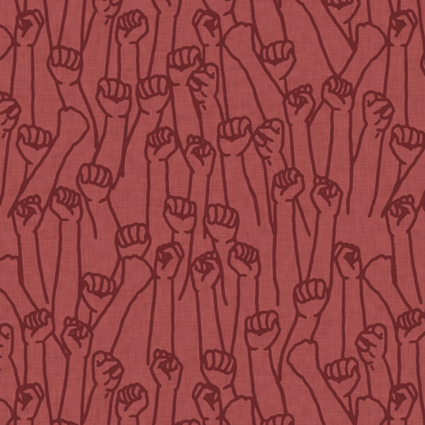 Protest Fists on Red fabric by landpenguin on Spoonflower - custom fabric