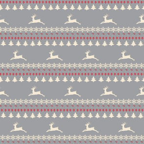 Rain deer fair isle -MEDIUM gray cream