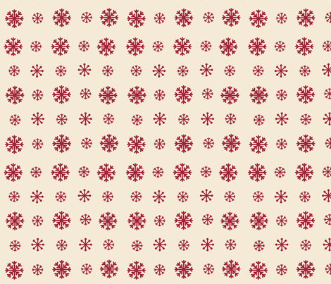 Snowflakes -cream  cranberry snow fabric by drapestudio on Spoonflower - custom fabric