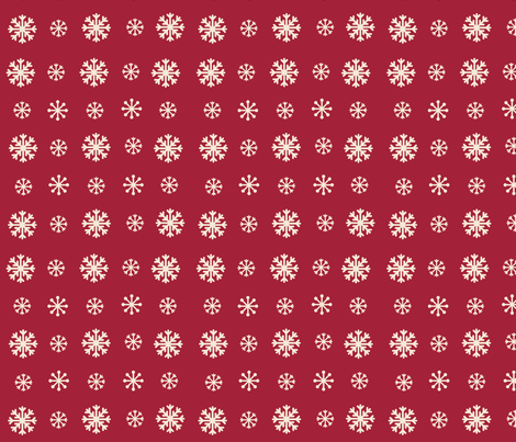 Snowflakes -cranberry cream snow fabric by drapestudio on Spoonflower - custom fabric