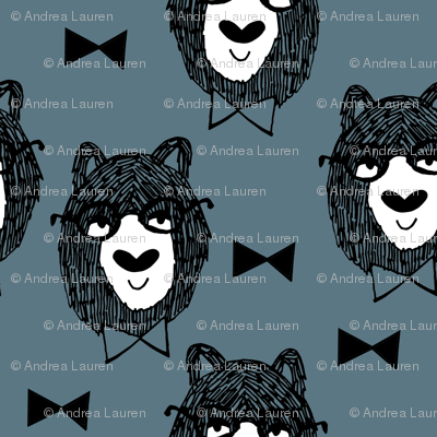 bowtie bear // dusty blue bear fabric bowties bear illustration andrea lauren fabric