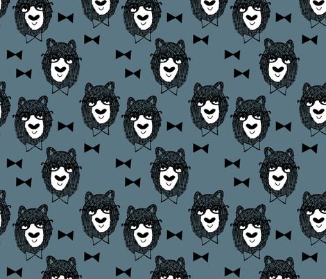 bowtie bear // dusty blue bear fabric bowties bear illustration andrea lauren fabric fabric by andrea_lauren on Spoonflower - custom fabric