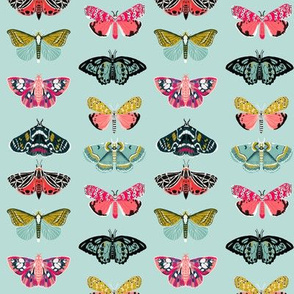 moths // blue pink butterflies fabric andrea lauren botanical nature design andrea lauren fabric