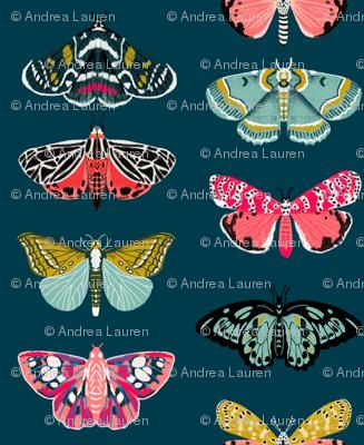 moths // moth butterflies butterfly fabric navy botanical nature andrea lauren design andrea lauren fabric