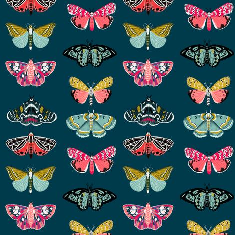moths // moth butterflies butterfly fabric navy botanical nature andrea lauren design andrea lauren fabric fabric by andrea_lauren on Spoonflower - custom fabric