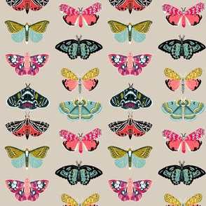 moths // butterflies and moths fabric nature botanical print andrea lauren fabric