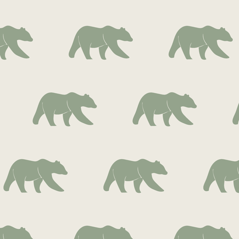 bears (small scale) || sage on cream fabric by littlearrowdesign on Spoonflower - custom fabric