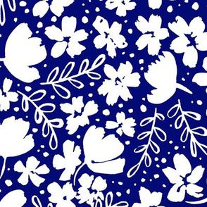 Love Blossoms Floral Pattern - White on Royal Blue