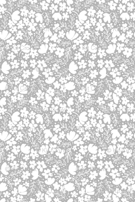 Love Blossoms Floral Pattern - White on Gray