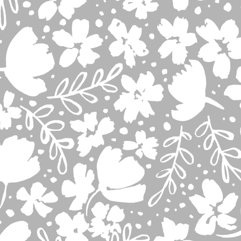 Love Blossoms Floral Pattern - White on Gray fabric by kitcronk on Spoonflower - custom fabric