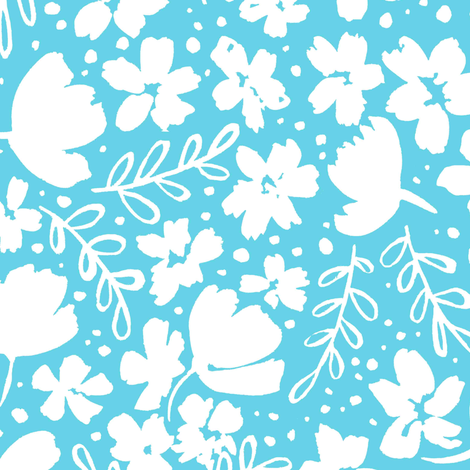 Love Blossoms Floral Pattern - White on Light Blue fabric by kitcronk on Spoonflower - custom fabric