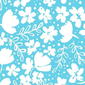 Love Blossoms Floral Pattern - White on Light Blue