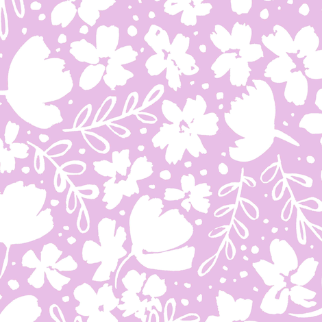 248_Love_Blossoms_Floral_Pattern_BIG_WHITE_ON_LIGHT_PINK fabric by kitcronk on Spoonflower - custom fabric