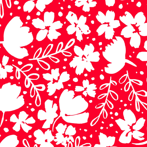 Love Blossoms Floral Pattern - White on Red fabric by kitcronk on Spoonflower - custom fabric