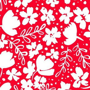 Love Blossoms Floral Pattern - White on Red