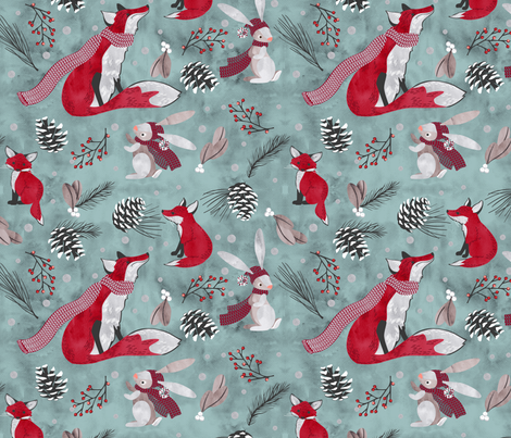 bunny and fox snow day fabric by cjldesigns on Spoonflower - custom fabric