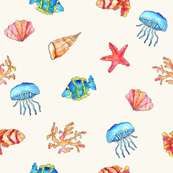 Fishes and shells pattern
