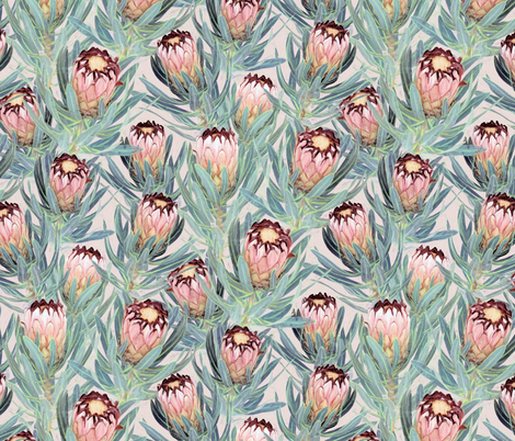 Pale Painted Protea Neriifolia - small version fabric by micklyn on Spoonflower - custom fabric