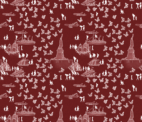 American Migration on Red fabric by landpenguin on Spoonflower - custom fabric